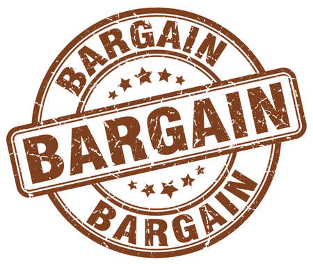 bargains: bargain brown grunge round vintage rubber stamp