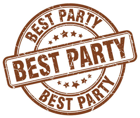 best party: best party brown grunge round vintage rubber stamp