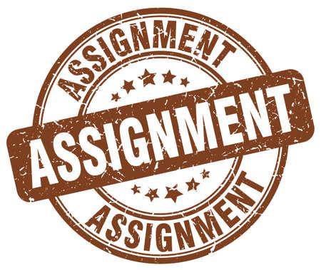 assignment: assignment brown grunge round vintage rubber stamp