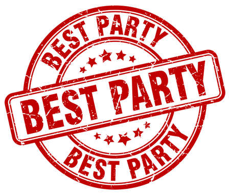 best party: best party red grunge round vintage rubber stamp