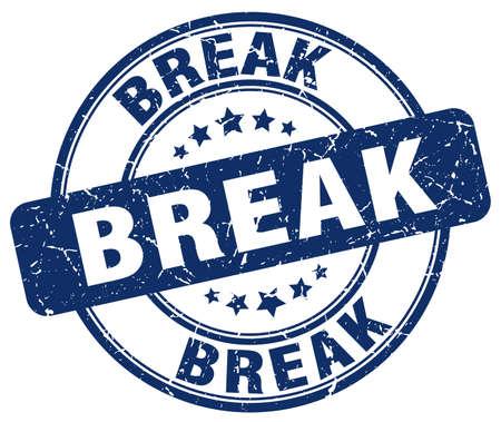 break: break blue grunge round vintage rubber stamp
