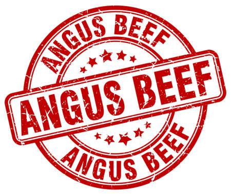 angus: angus beef red grunge round vintage rubber stamp