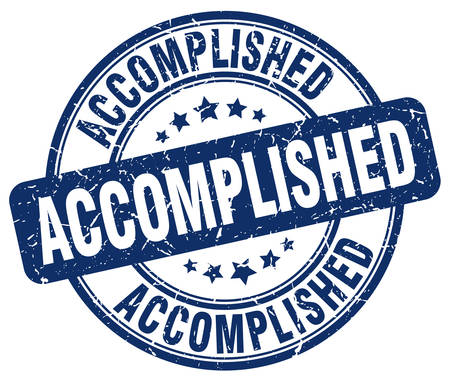 accomplish: accomplished blue grunge round vintage rubber stamp