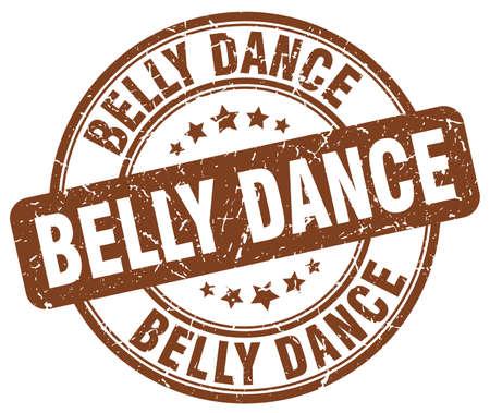 belly dance: belly dance brown grunge round vintage rubber stamp Illustration
