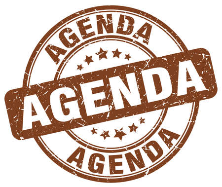 agenda: agenda brown grunge round vintage rubber stamp