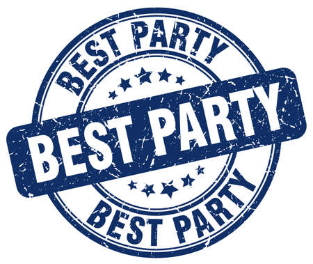 best party: best party blue grunge round vintage rubber stamp