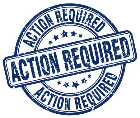 required: action required blue grunge round vintage rubber stamp