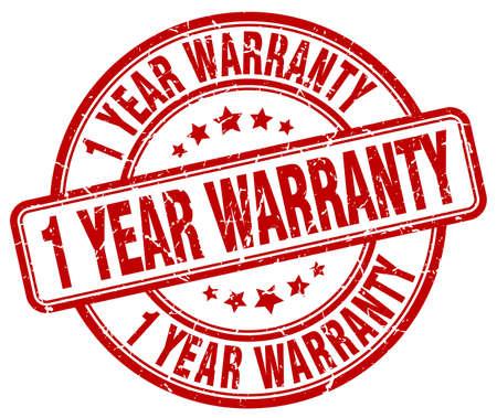 1 year warranty: 1 year warranty red grunge round vintage rubber stamp