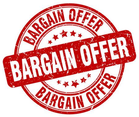 bargains: bargain offer red grunge round vintage rubber stamp