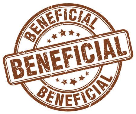 beneficial: beneficial brown grunge round vintage rubber stamp