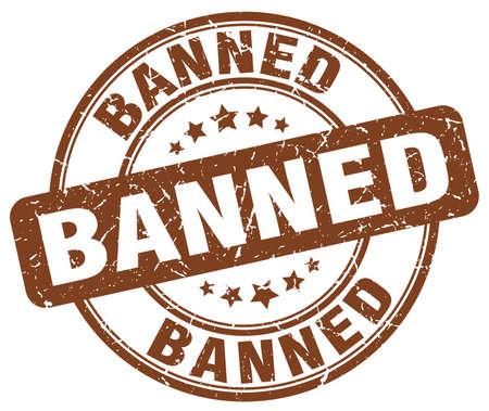 banned: banned brown grunge round vintage rubber stamp
