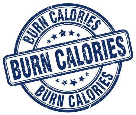 calories: burn calories blue grunge round vintage rubber stamp