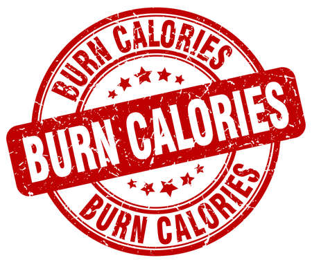 calories: burn calories red grunge round vintage rubber stamp