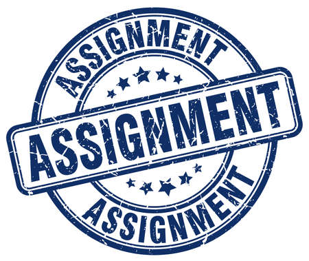 assignment: assignment blue grunge round vintage rubber stamp