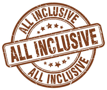 inclusive: all inclusive brown grunge round vintage rubber stamp