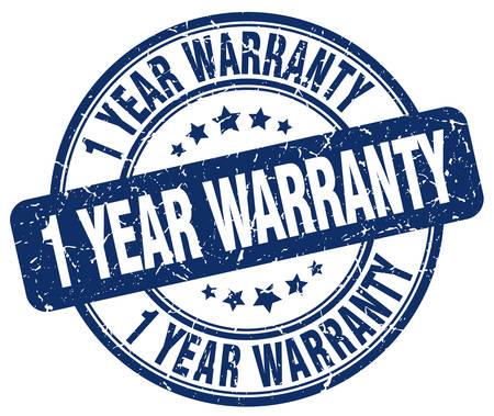 1: 1 year warranty blue grunge round vintage rubber stamp