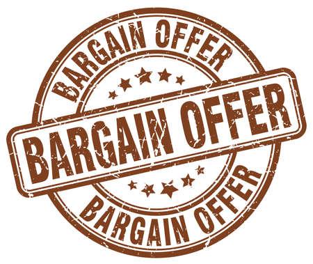 bargain: bargain offer brown grunge round vintage rubber stamp Illustration