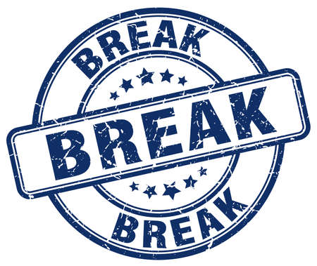 break: break blue grunge round vintage rubber stamp