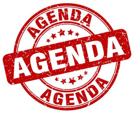 agenda: agenda red grunge round vintage rubber stamp