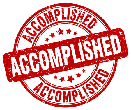 accomplish: accomplished red grunge round vintage rubber stamp