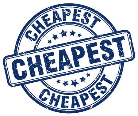 cheapest: cheapest blue grunge round vintage rubber stamp Illustration