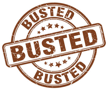 busted: busted brown grunge round vintage rubber stamp