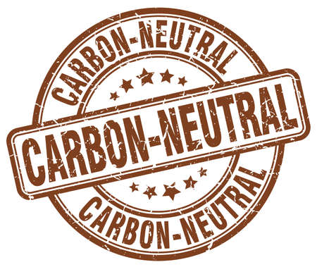 co2 neutral: carbon-neutral brown grunge round vintage rubber stamp