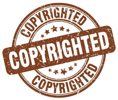 copyrighted: copyrighted brown grunge round vintage rubber stamp