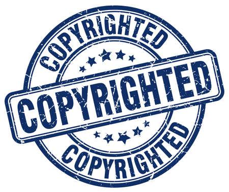 copyrighted: copyrighted blue grunge round vintage rubber stamp