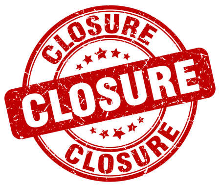 closure: closure red grunge round vintage rubber stamp