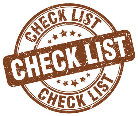 check list: check list brown grunge round vintage rubber stamp