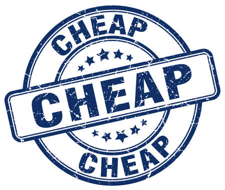 cheap: cheap blue grunge round vintage rubber stamp Illustration