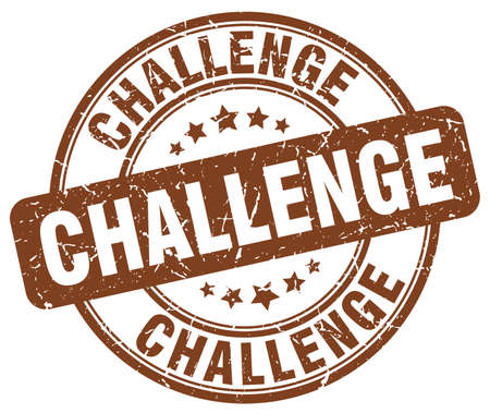 challenge brown grunge round vintage rubber stamp