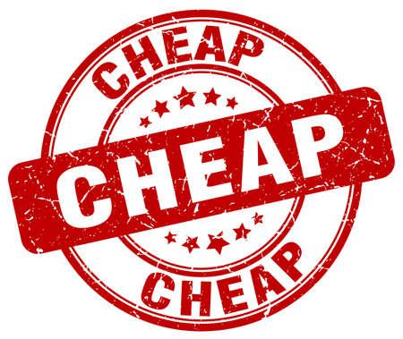 cheap: cheap red grunge round vintage rubber stamp Illustration