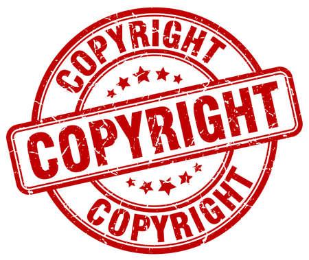 copyrighted: copyright red grunge round vintage rubber stamp Illustration