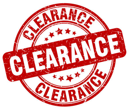 clearance: clearance red grunge round vintage rubber stamp