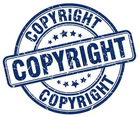 copyright: copyright blue grunge round vintage rubber stamp