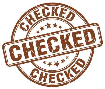 checked: checked brown grunge round vintage rubber stamp