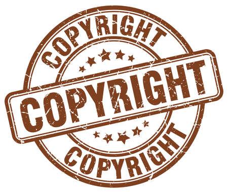 copyrighted: copyright brown grunge round vintage rubber stamp