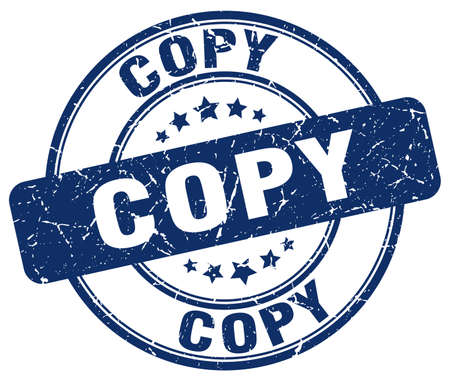 the copy: copy blue grunge round vintage rubber stamp