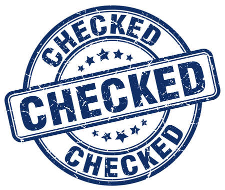 checked: checked blue grunge round vintage rubber stamp