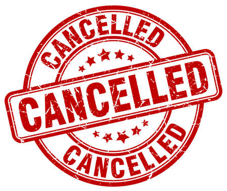 cancelled stamp: cancelled red grunge round vintage rubber stamp