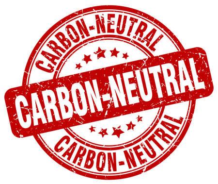 co2 neutral: carbon-neutral red grunge round vintage rubber stamp Illustration