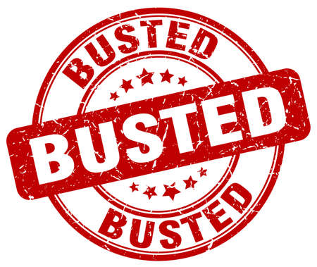 busted: busted red grunge round vintage rubber stamp