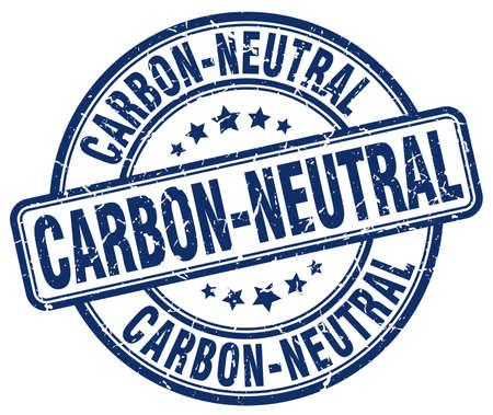 co2 neutral: carbon-neutral blue grunge round vintage rubber stamp
