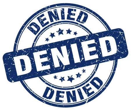 denied: denied blue grunge round vintage rubber stamp