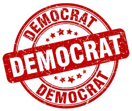 democrat: democrat red grunge round vintage rubber stamp