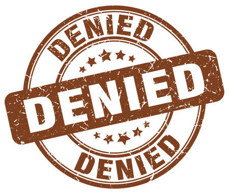 denied: denied brown grunge round vintage rubber stamp Illustration