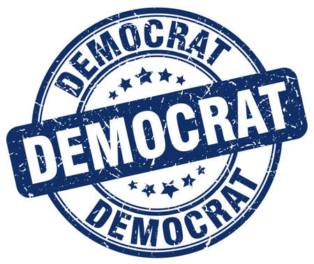 democrat: democrat blue grunge round vintage rubber stamp Illustration