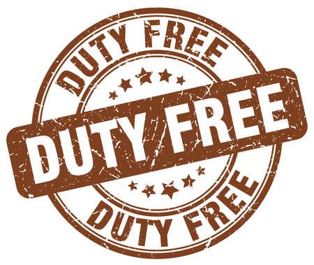 duty: duty free brown grunge round vintage rubber stamp Illustration